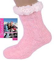 Женские теплые нежно-розовые домашние носки с тормозами. Размер 35-40, фото 1