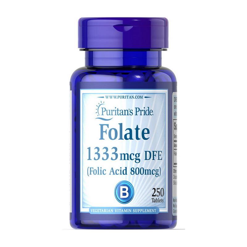 Puritan's Pride Folate 1333 mcg DFE 800 mcg, Фолиевая кислота (500 таб.)