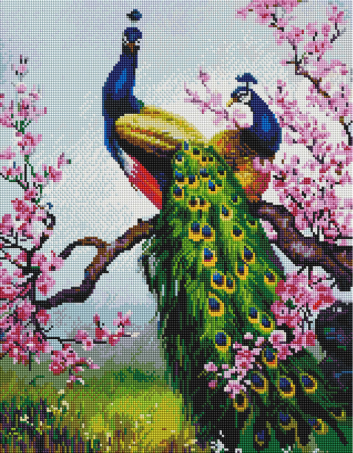 Картина по номерам Brushme Картина по номерам Brushme Павлины на ветке сакуры