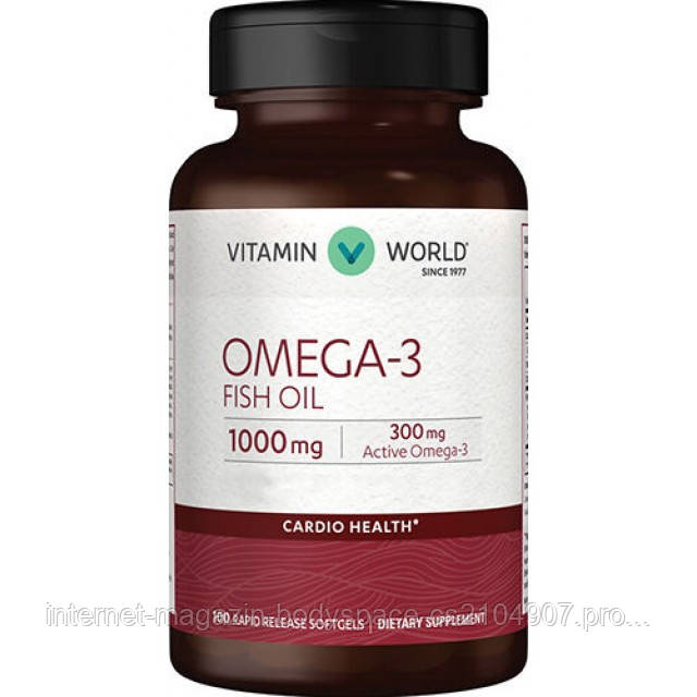 Vitamin World, Рыбий жир Omega-3 Fish Oil 1000 мг, 100 капсул
