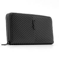 Кожаный женский кошелек черный на молнии ysl-5883 bla, фото 1