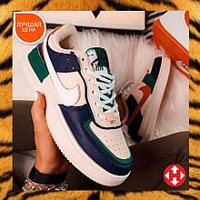 🔥 Кроссовки женские повседневные Nike Air Force Shadow найк эир форс шедоу белые White|Blue|Green
