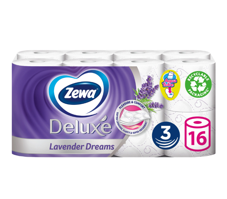 Туалетний папір Zewa Deluxe Lavender Dreams тришаровий (лаванда) 16 шт.