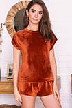 Домашний женский костюм с шортами терракотовый Нисса, фото 2