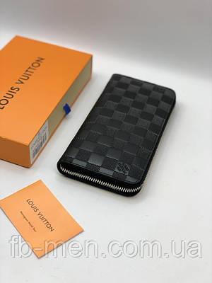 Бумажник кожаный Louis Vuitton черный | Кошелек на молнии Луи Витон мужской женский | Портмоне Louis Vuitton