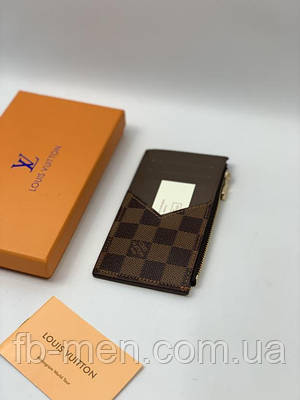 Визитница кожаная Louis Vuitton коричневая   Картхолдер кожаный Луи Виттон под карты/деньги мужской женский