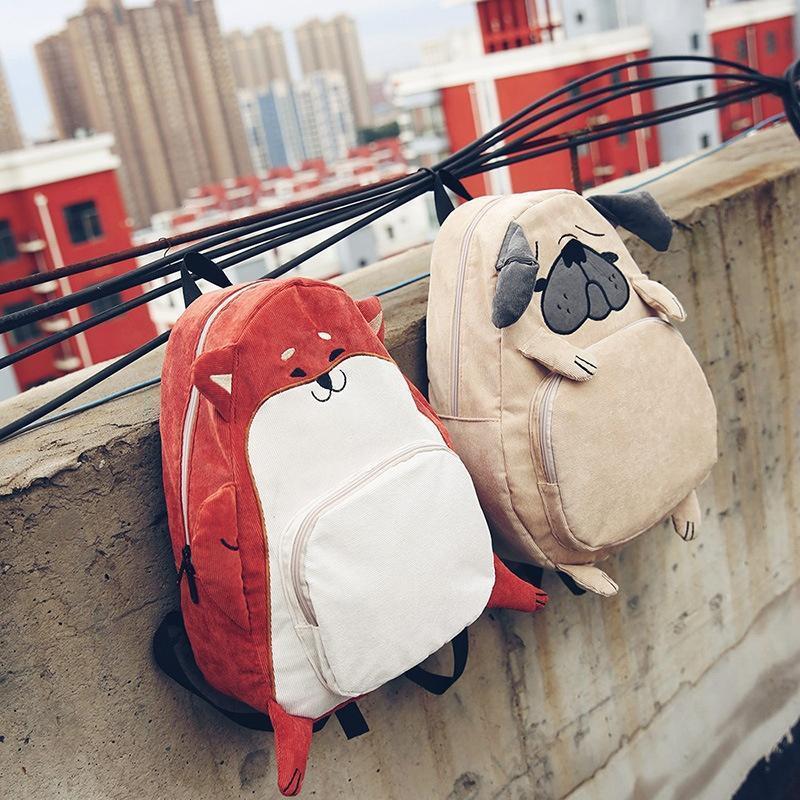Большой тканевый рюкзак Лиса \ Мопс