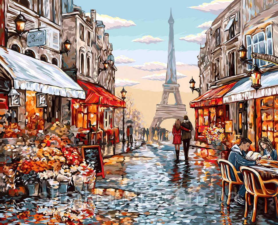"""Картина за номерами. """"Квітковий магазин Парижа"""" 40*50см KpN-01-09U"""