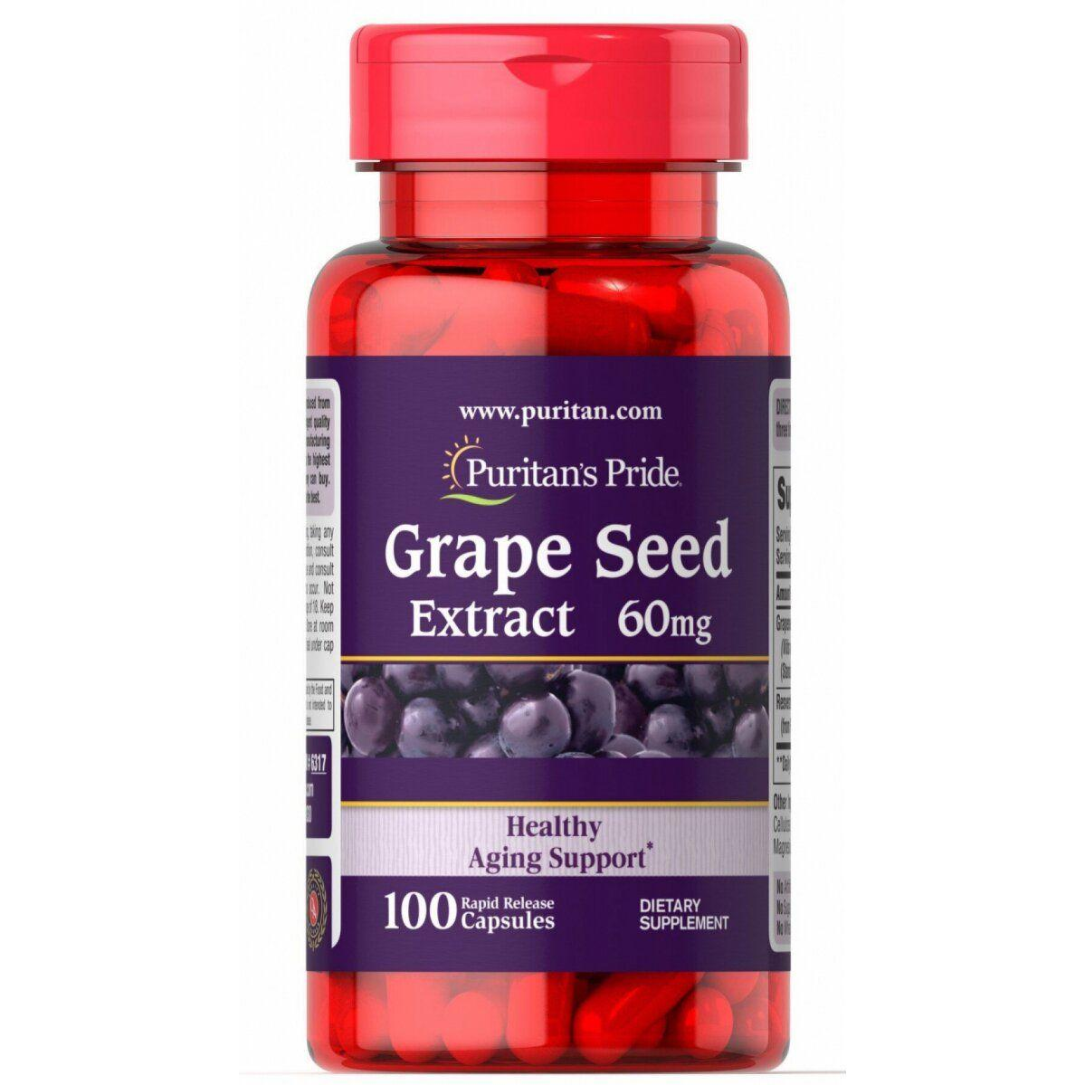 Puritan's Pride Grape Seed Extract with Resveratrol, Экстракт Виноградных Косточек, Ресвератрол (100 капс.)