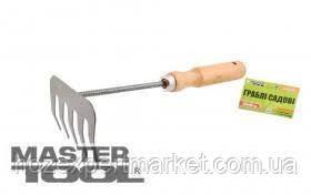 MasterTool Граблі садові з подовженою дерев'яною ручкою 5 зубів 375*95 мм, фото 2