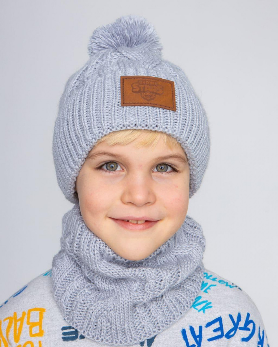 Вязаний комплект з помпоном для хлопчика оптом - Артикул 2606