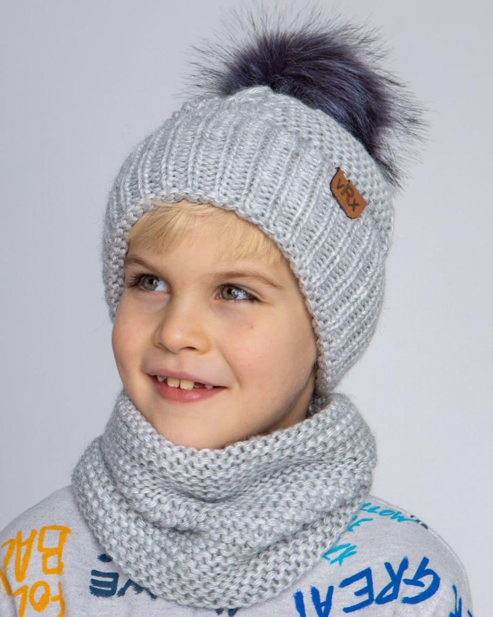 Вязаний комплект з помпоном для хлопчика оптом - Артикул 2656
