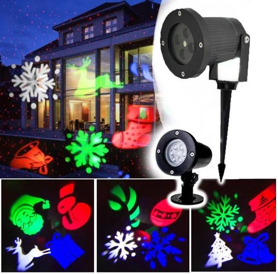 LED вуличний проектор на ніжці: Сніжинки олень гірлянди дзвіночок Star Shower MG-3 від мережі