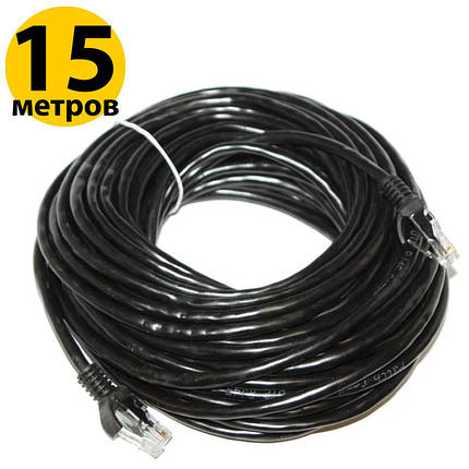 Патч-корд 15 метров, UTP, Black, Ritar, литой, RJ45, кат.5е, витая пара, сетевой кабель для интернета, фото 2