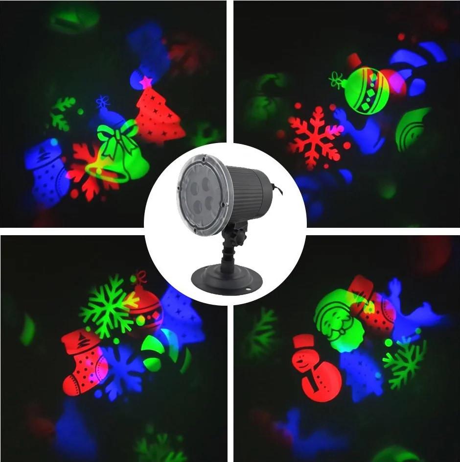 Крутящийся новогодний проектор 10 рисунков Снежинки олень гирлянды колокольчик StarShower Star Shower MG-3