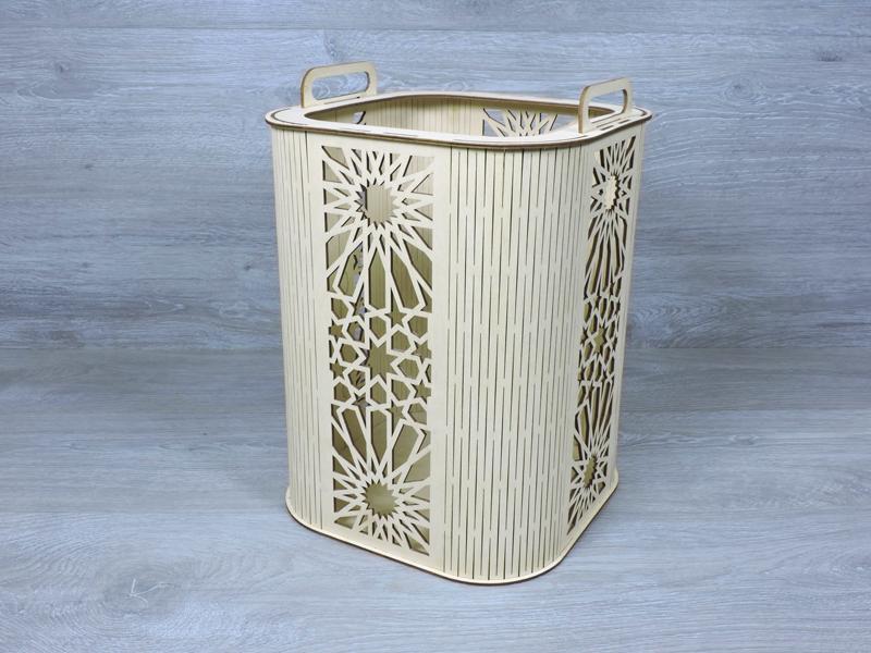 Декоративний кошик з фанери 26х26х36 см з різаним малюнком і ручками (2279)