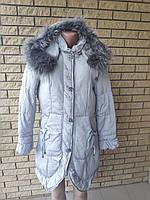 Пуховик, курта женская зимняя на натуральном пуху, большой размер LITUO