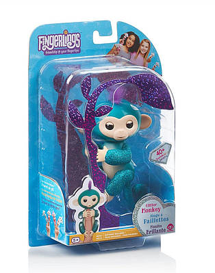 Інтерактивна мавпочка WowWee Fingerlings Glitter Monkey - Quincy блискуча Квінсі