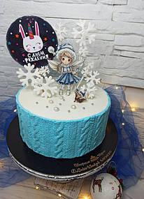 Нежный тортик на день рождения с топпером на деревянной основе с принтом 1