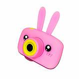 Детский цифровой фотоаппарат Розовый Зайчик 2 Камеры Оригинал Children`s fun 20Мп Full HD 1080p (PY), фото 2