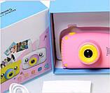 Детский цифровой фотоаппарат Розовый Зайчик 2 Камеры Оригинал Children`s fun 20Мп Full HD 1080p (PY), фото 5