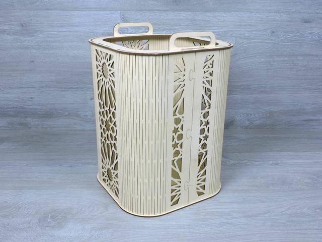 Декоративний кошик з фанери 26х26х36 см з різаним малюнком і ручками