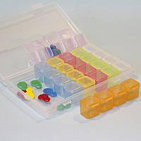 Органайзер для мелочей прямоугольный с баночками / материал пластик / 28 отдельных баночек