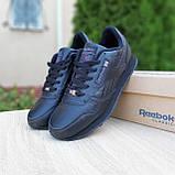 Мужские кроссовки в стиле Reebok Classic 1983, кожа, черные (с флажком), фото 4