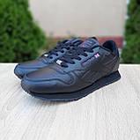 Мужские кроссовки в стиле Reebok Classic 1983, кожа, черные (с флажком), фото 6