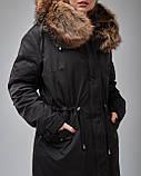 Парка женская теплая с трикотажа с капюшоном на меху. Турция, фото 3