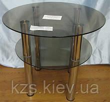 Круглый журнальный столик из стекла