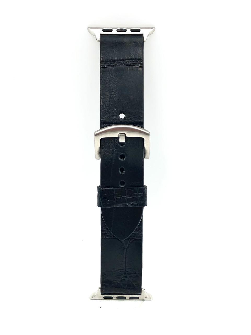 Ремешок для Apple Watch чёрного цвета из кожи Крокодила