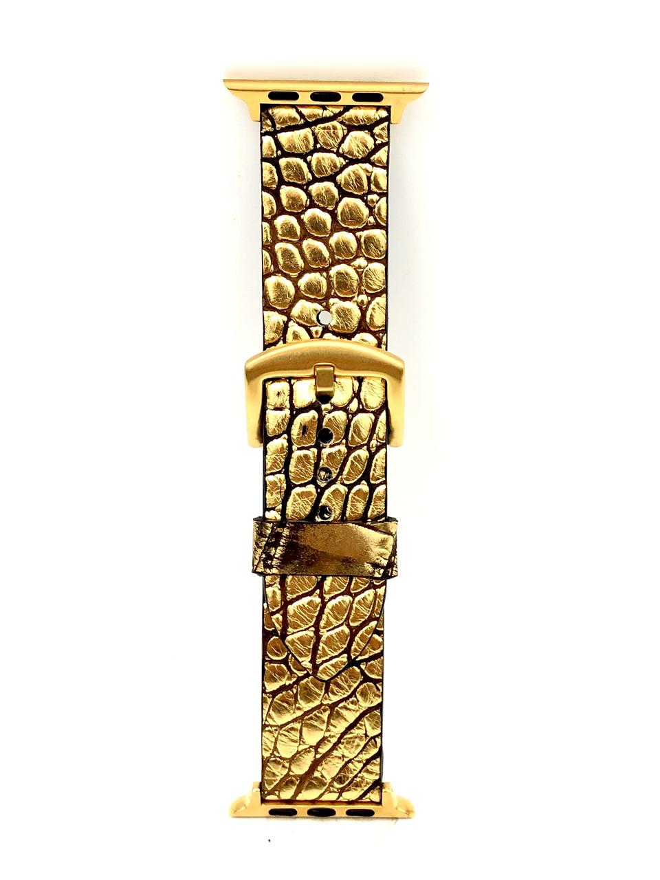 Ремешок для Apple Watch золотого цвета из кожи Крокодила