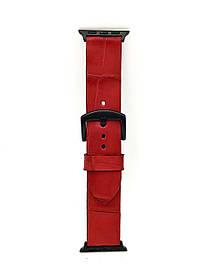 Ремешок для Apple Watch красного цвета из кожи Крокодила