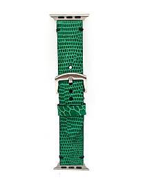 Ремешок для Apple Watch зелёного цвета из кожи Игуаны