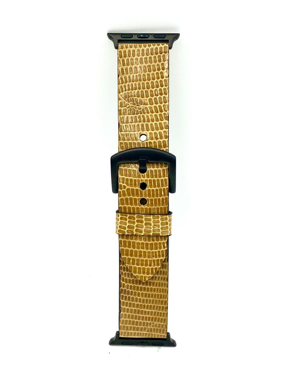 Ремешок для Apple Watch жёлтого цвета из кожи Игуаны