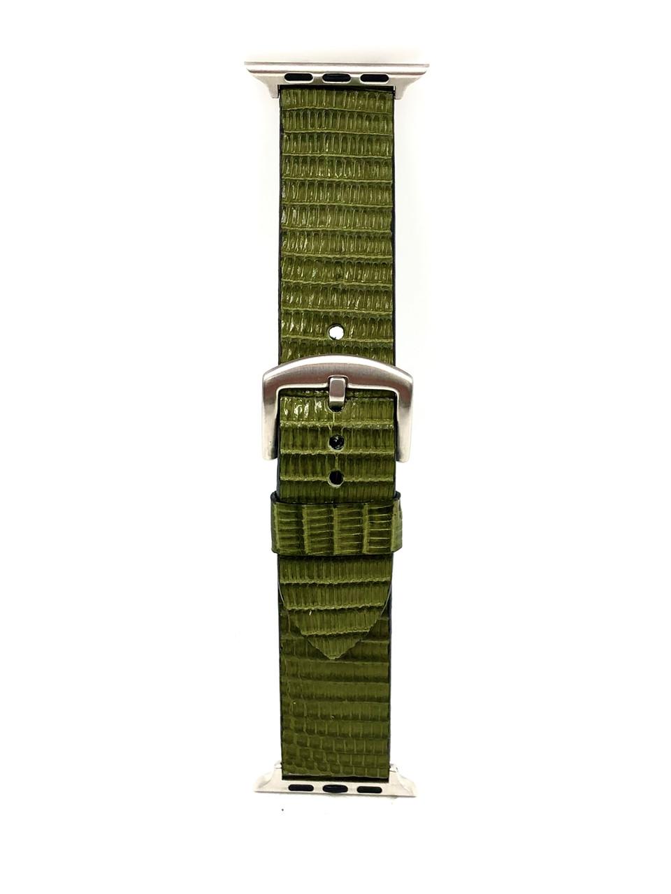 Ремешок для Apple Watch цвета хаки из кожи Игуаны