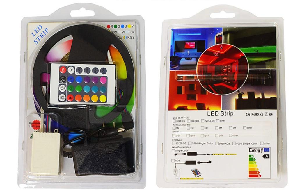 Цветная RGB 3528 LED лента 5м с пультом ДУ и блоком питания 300 светодидов класс защиты IP20