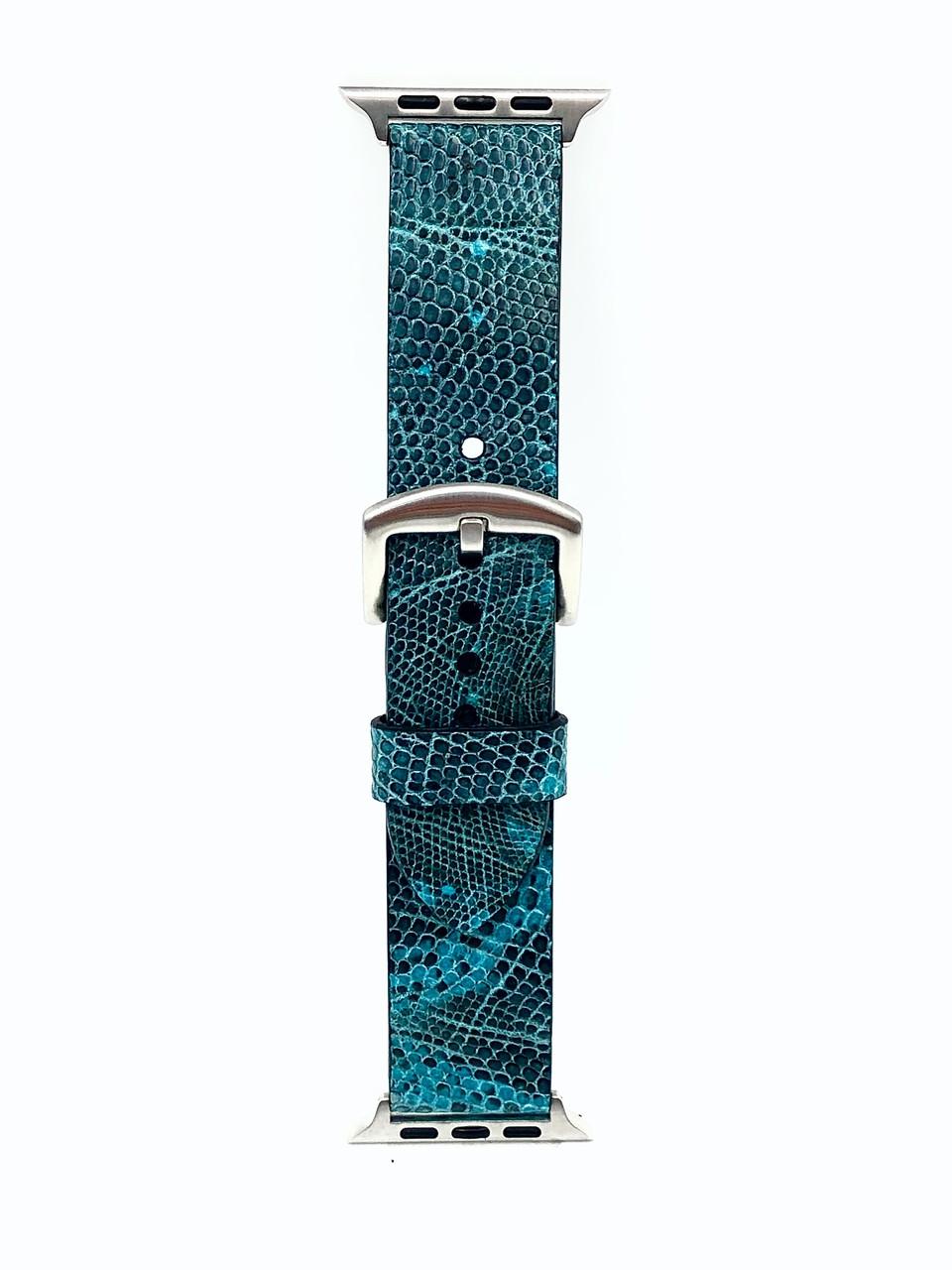 Ремешок для Apple Watch бирюзового цвета из кожи Игуаны