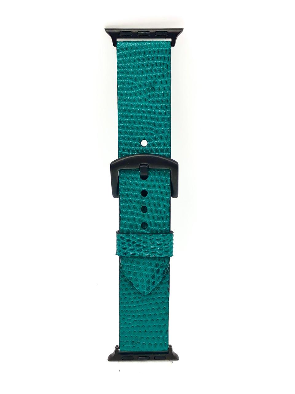 Ремешок для Apple Watch синего цвета из кожи Игуаны