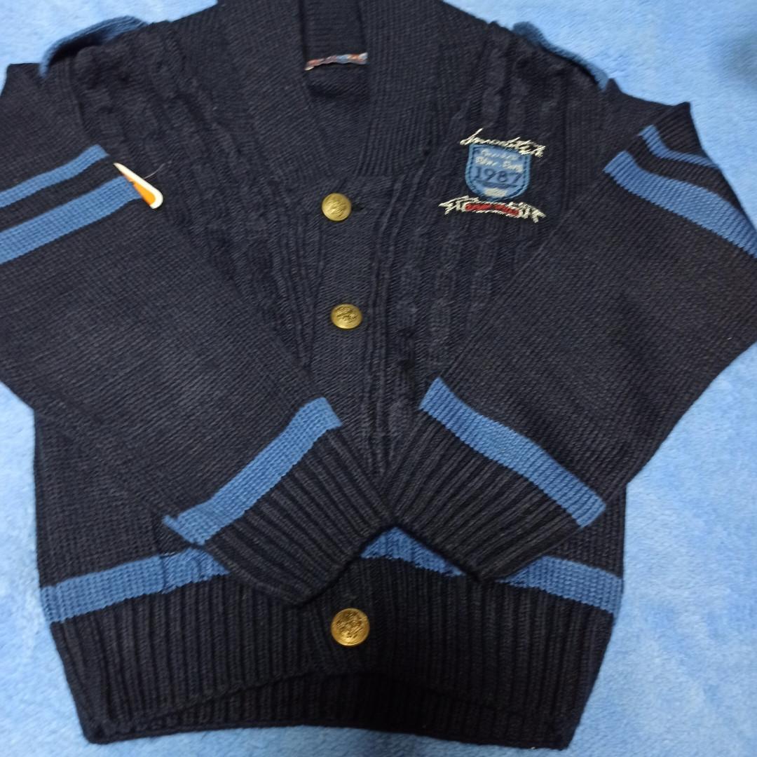Кофта модная нарядная вязаная  красивая теплая стильная синего цвета на пуговицах для мальчика.