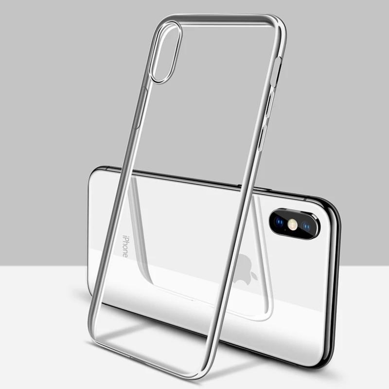 Чехол для IPhone X/Iphone XS , силиконовый серебристый