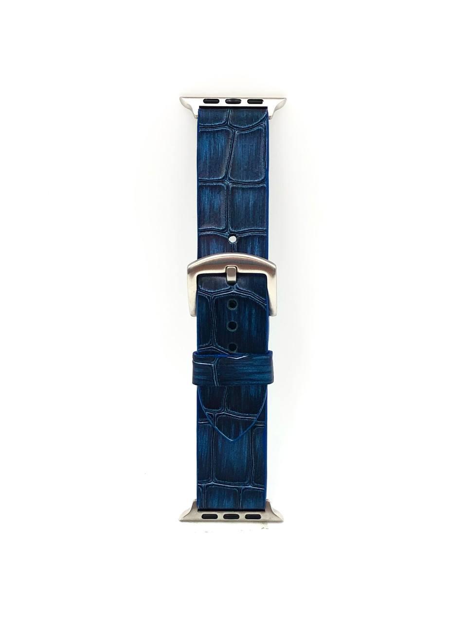 Ремешок для Apple Watch синего цвета из Телячьей кожи тиснёной под Крокодила