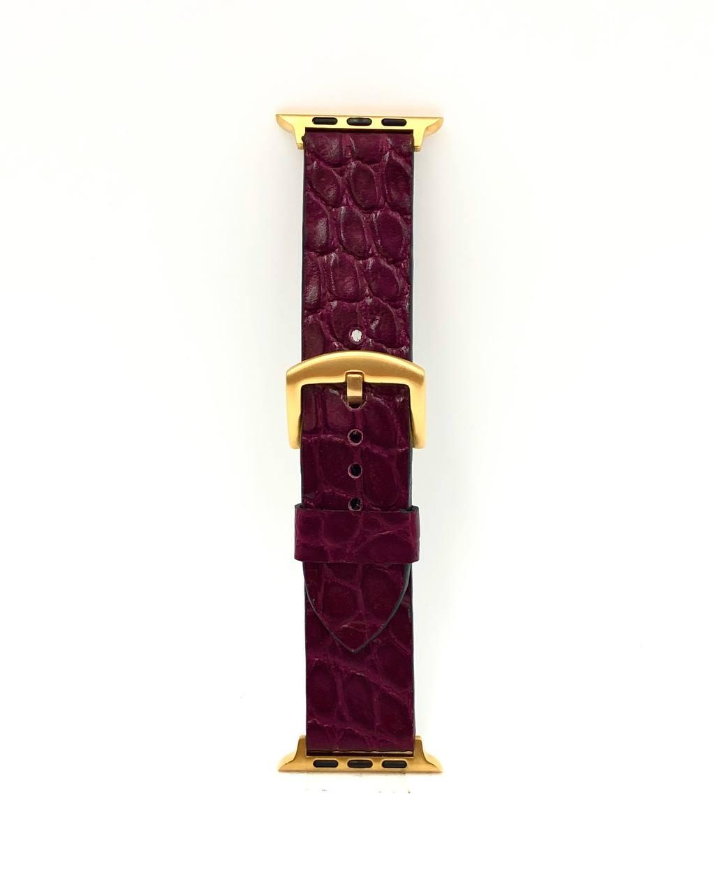 Ремешок для Apple Watch бордового цвета из Телячьей кожи тиснёной под Крокодила
