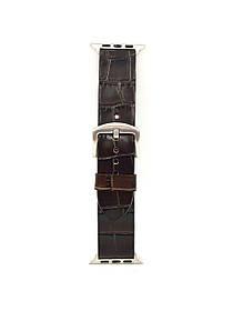 Ремешок для Apple Watch тёмно-коричневого цвета из Телячьей кожи тиснёной под Крокодила