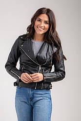 Утеплена жіноча коротка куртка-косуха з відстібними хутром на комірі в 4 розмірах: S, M, L, XL.