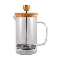 Френч-пресс Бамбук заварник с прессом для кофе чая стекло с бамбуковой крышкой 600 мл