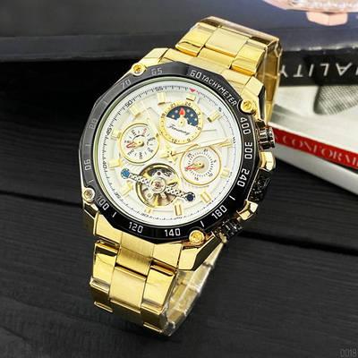Наручные мужские часы Forsining 6913 Gold-Black-White механические
