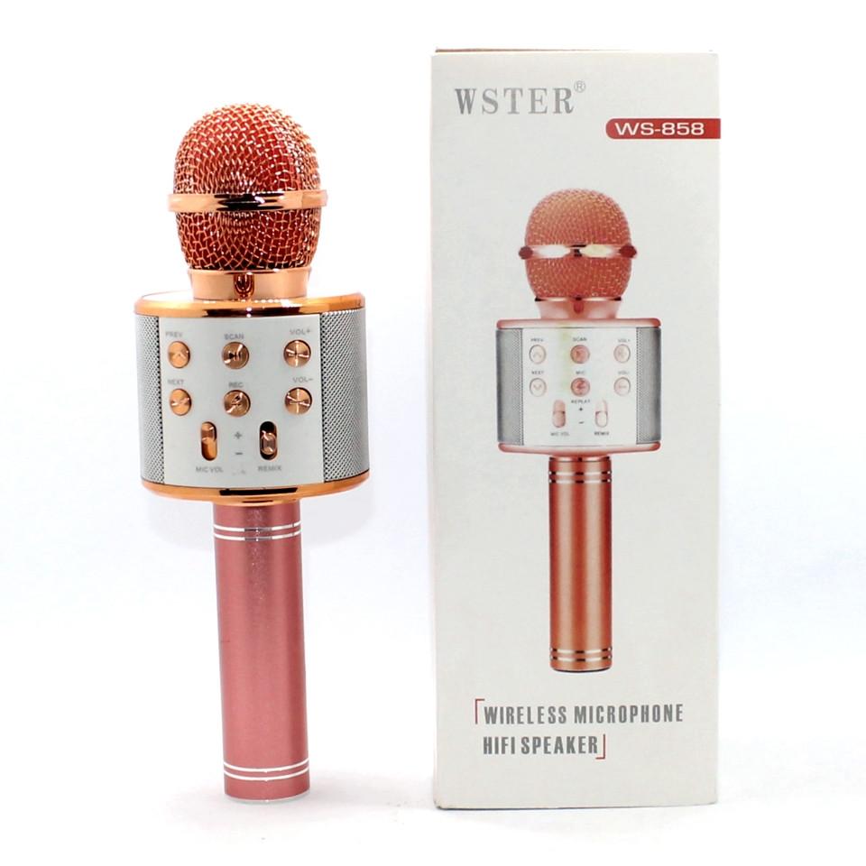 Детский портативный беспроводной микрофон караоке WS-858 Bluetooth с динамиком MP3 Розовое Золото Блютуз