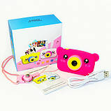 Детский цифровой фотоаппарат Розовый Мишка 2 Камеры Children`s fun Original  20Мп Full HD 1080p (PPM), фото 3